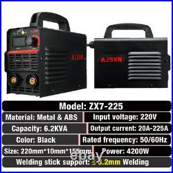 220V 225A ARC Force MMA Stick Welder IGBT Welding Inverter Machine 10PCS Kit Set