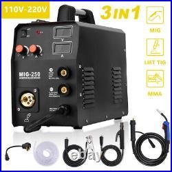 3in1 MIG Welder ARC Lift TIG Inverter 200A 110/220V Welding Machine Gas Gasless