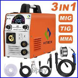 HITBOX 4 In1 MIG Welder Inverter 110/220V Dual Volt 180A LED ARC MIG TIG Welder