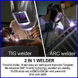 HZXVOGEN 200Amp TIG Welder 110V Inverter Stick ARC HF TIG Welding Machine+Helmet