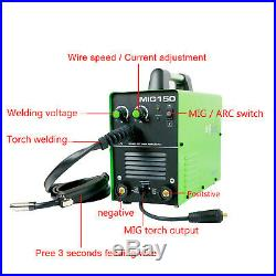 MIG Welder Gas/Gasless 220V Flux Core ARC Stick MMA MIG Inverter Welder MIG-150